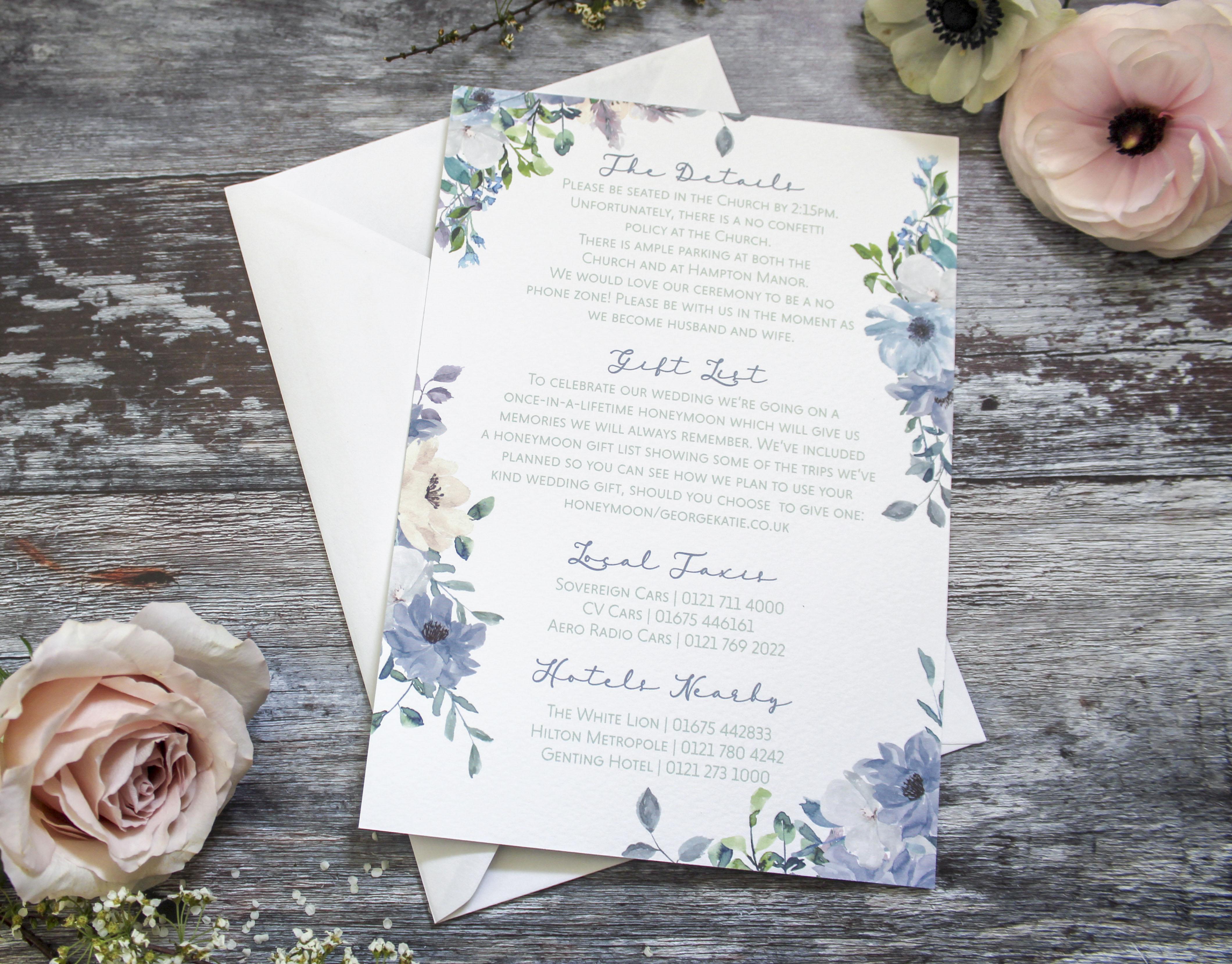 dusty blue wedding stationery invite