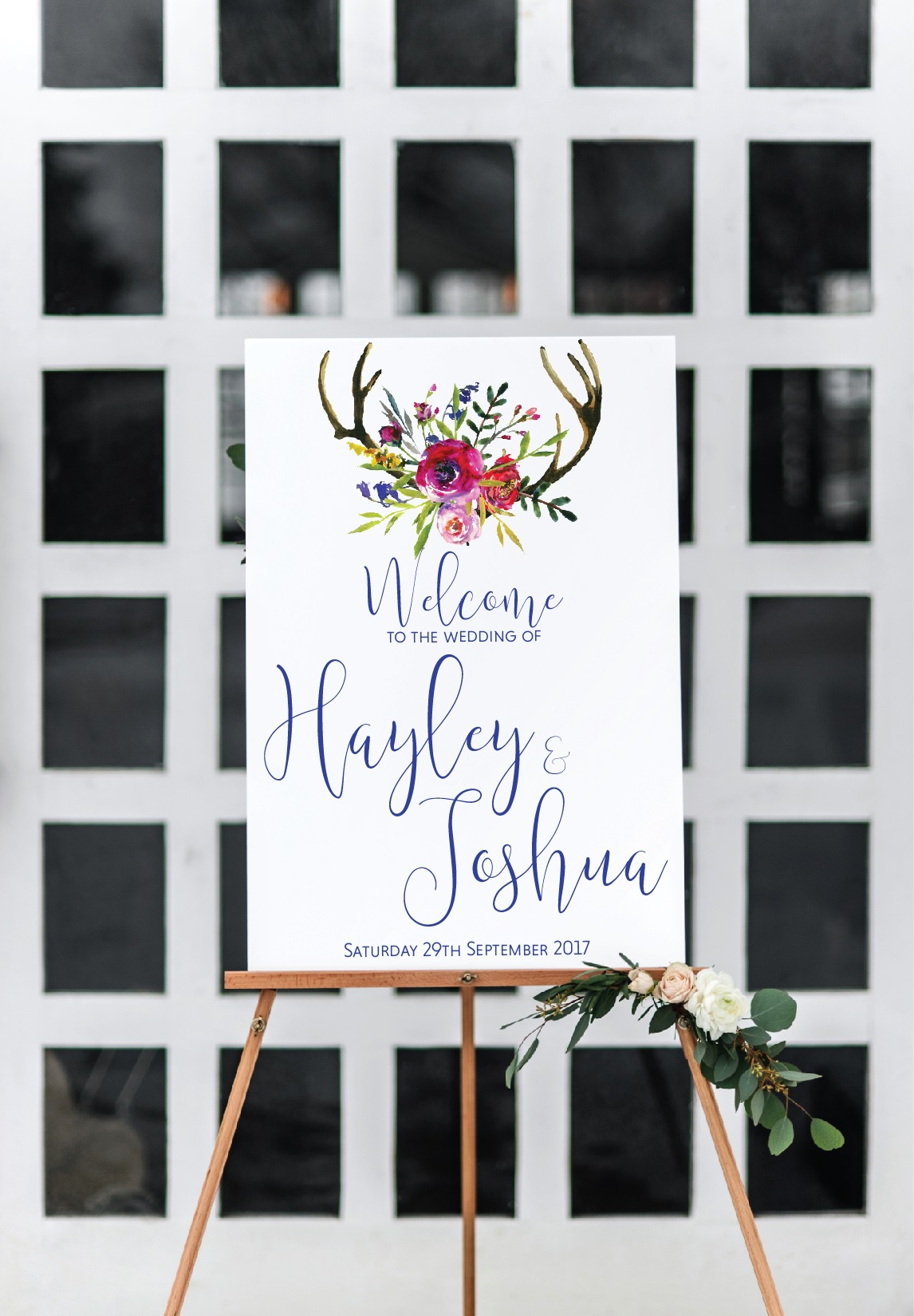 floral welcome to our wedding sign