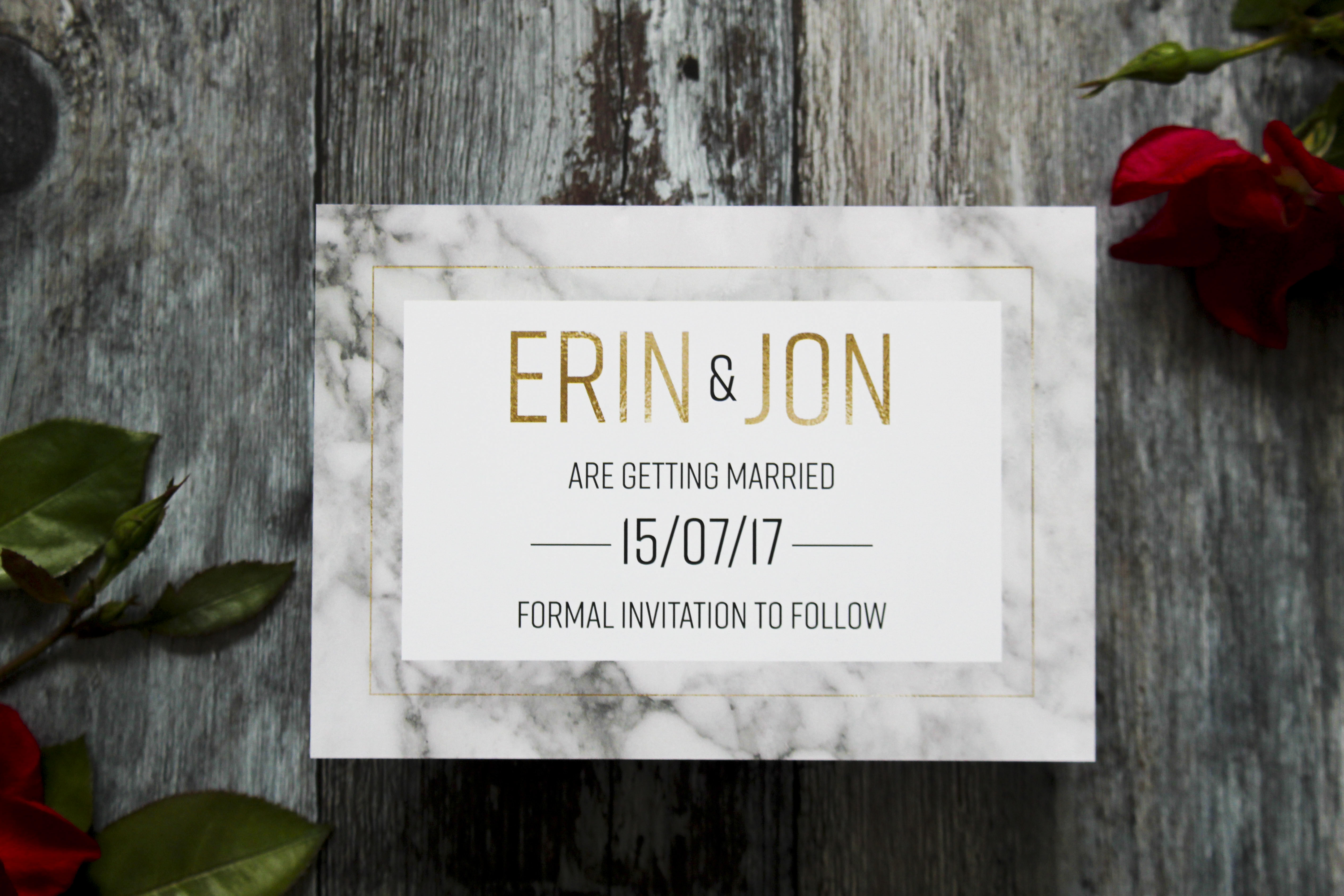 Marble wedding save the date cards