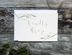 watercolour leaf rsvp card