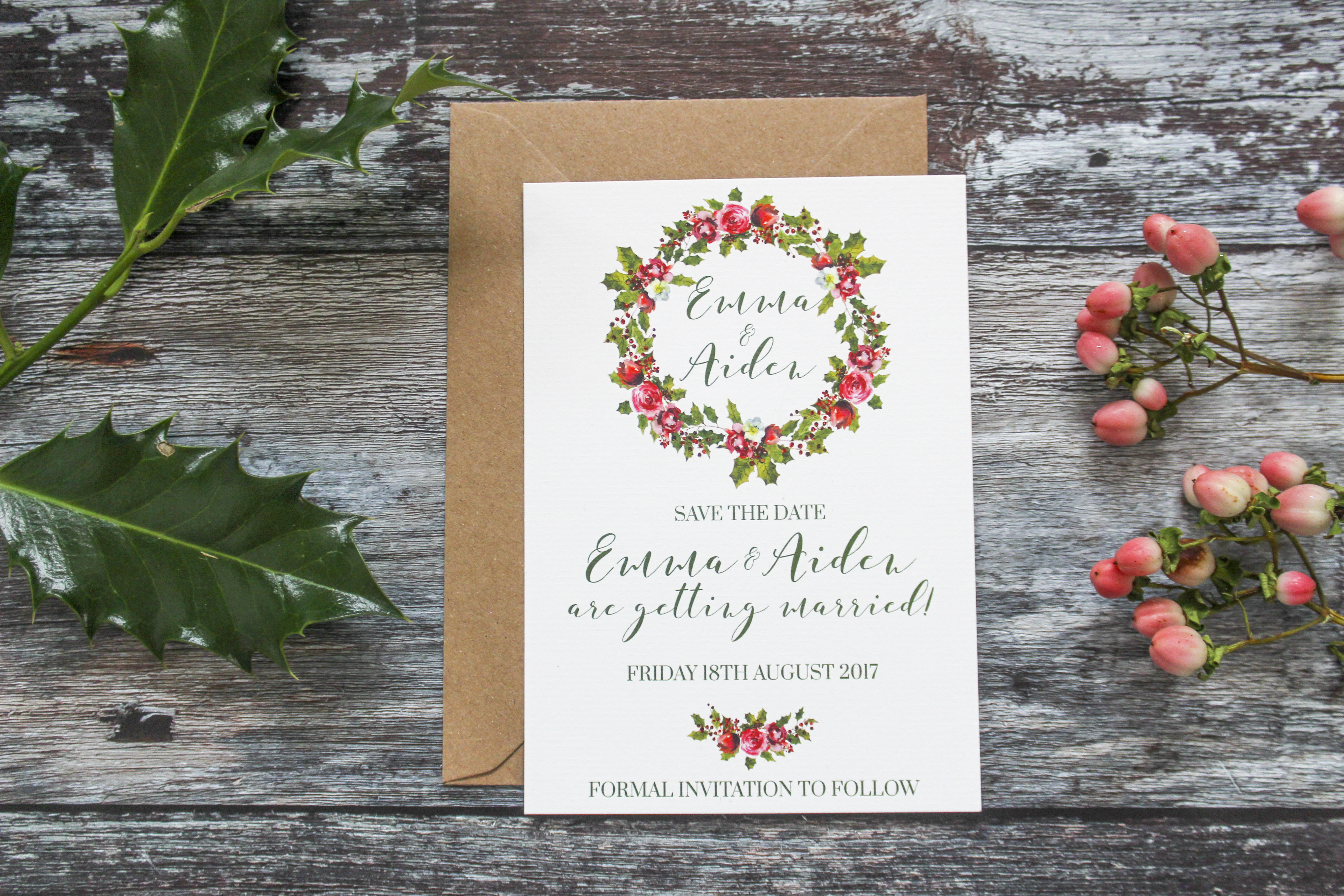 holly wreath save the date