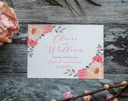 blush floral save the date card