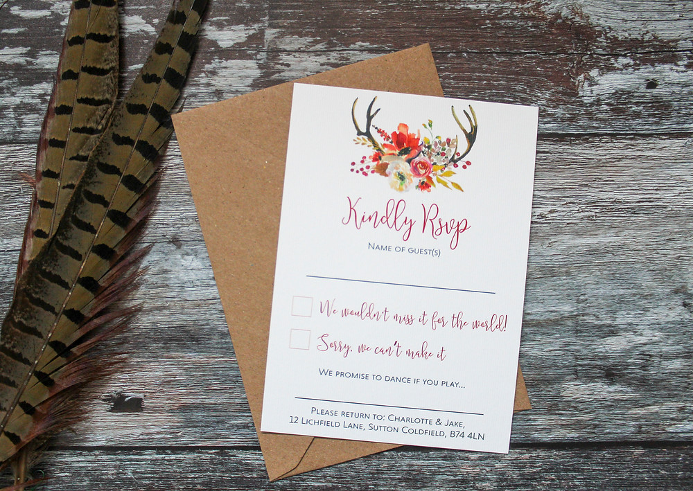 rustic antler autumn wedding stationery