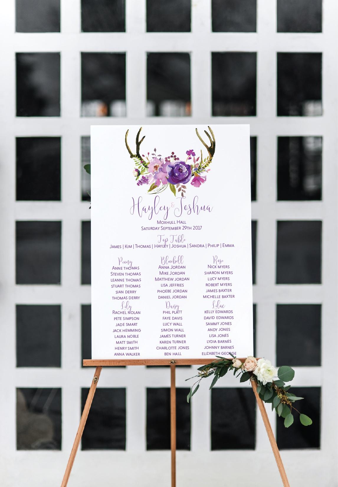 Rustic deer table plan