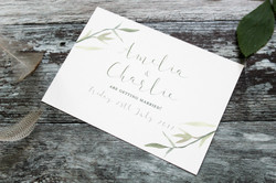 watercolour leaf save the date cards
