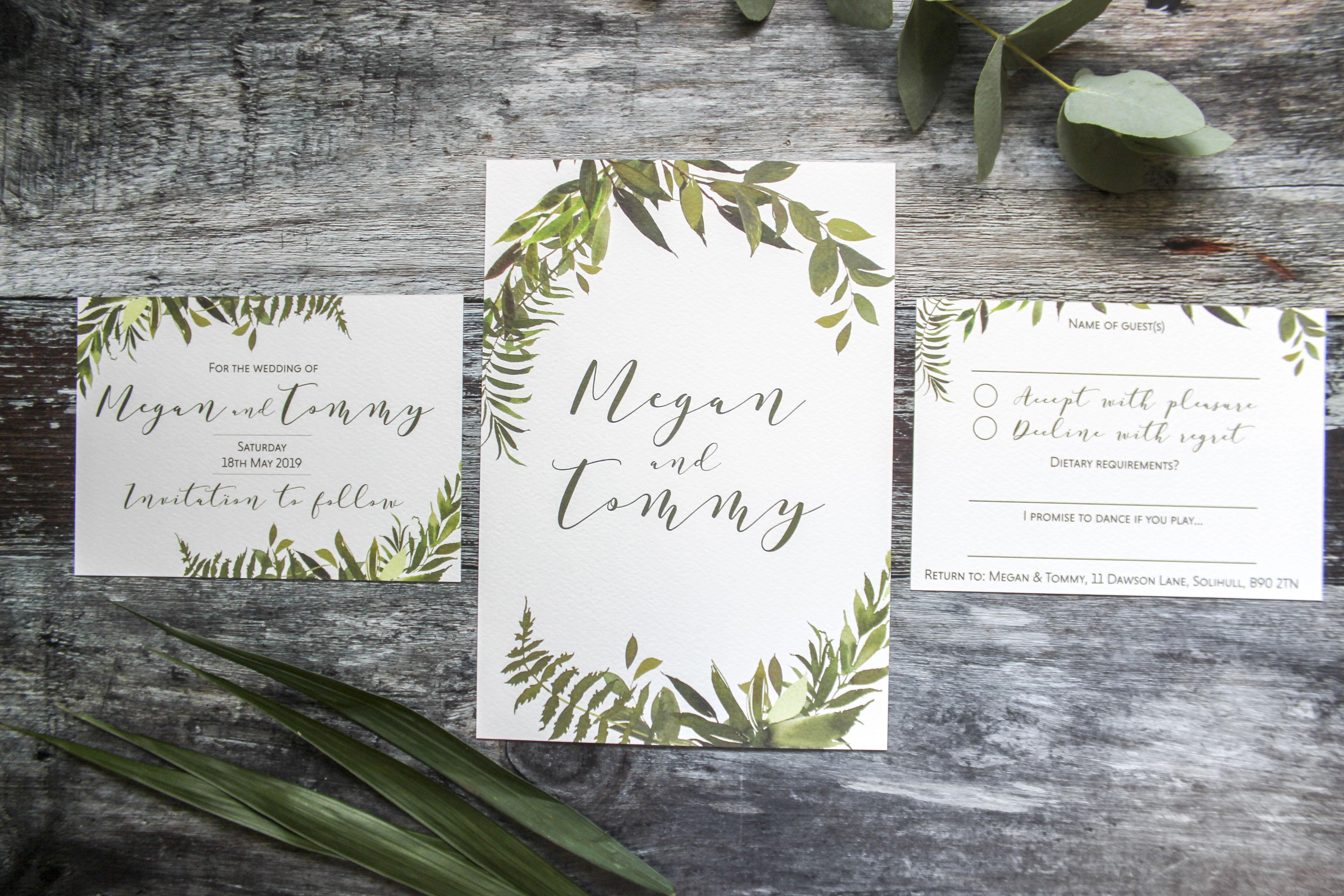botanical wedding stationery suite