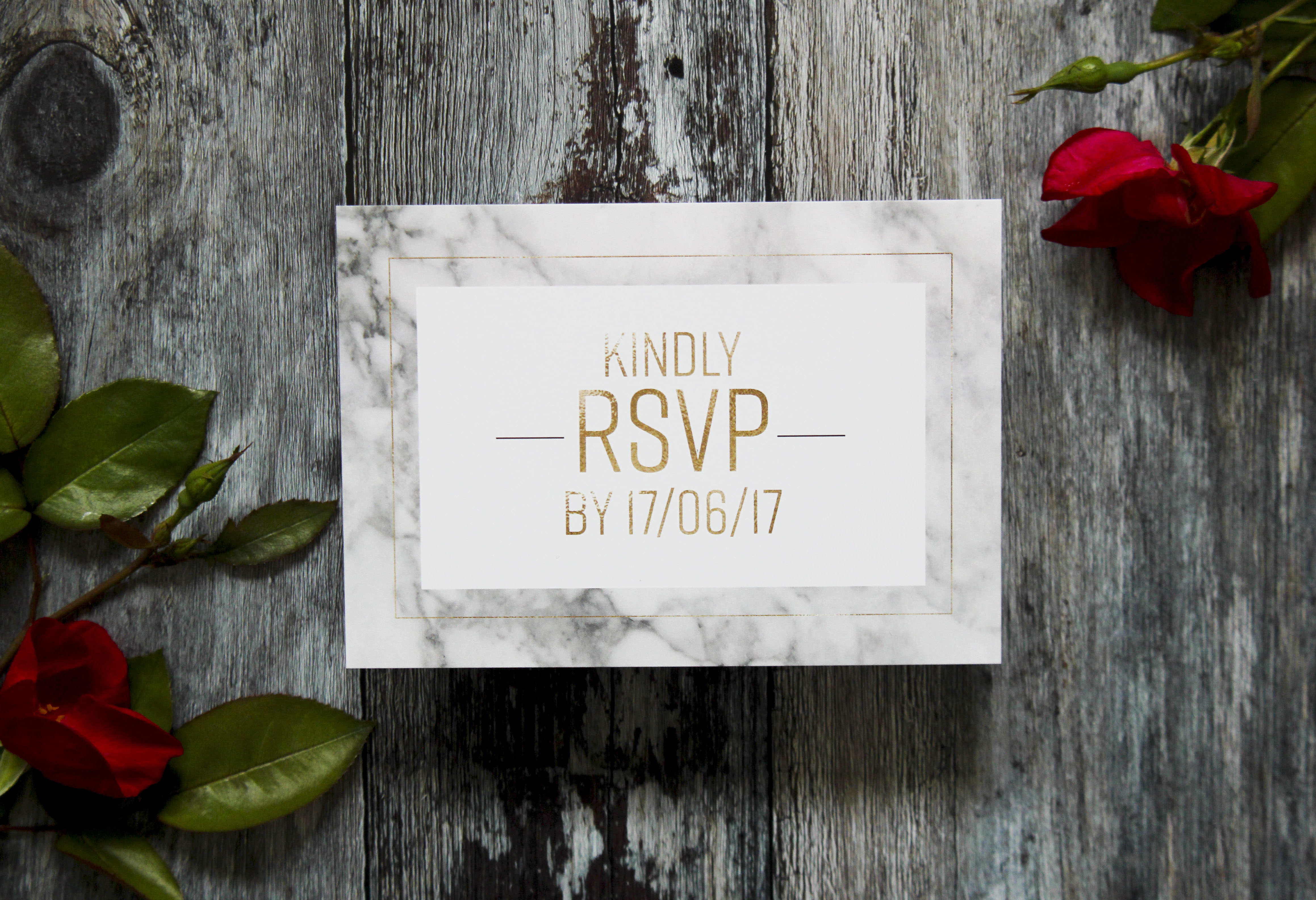 Marble and gold wedding rsvp