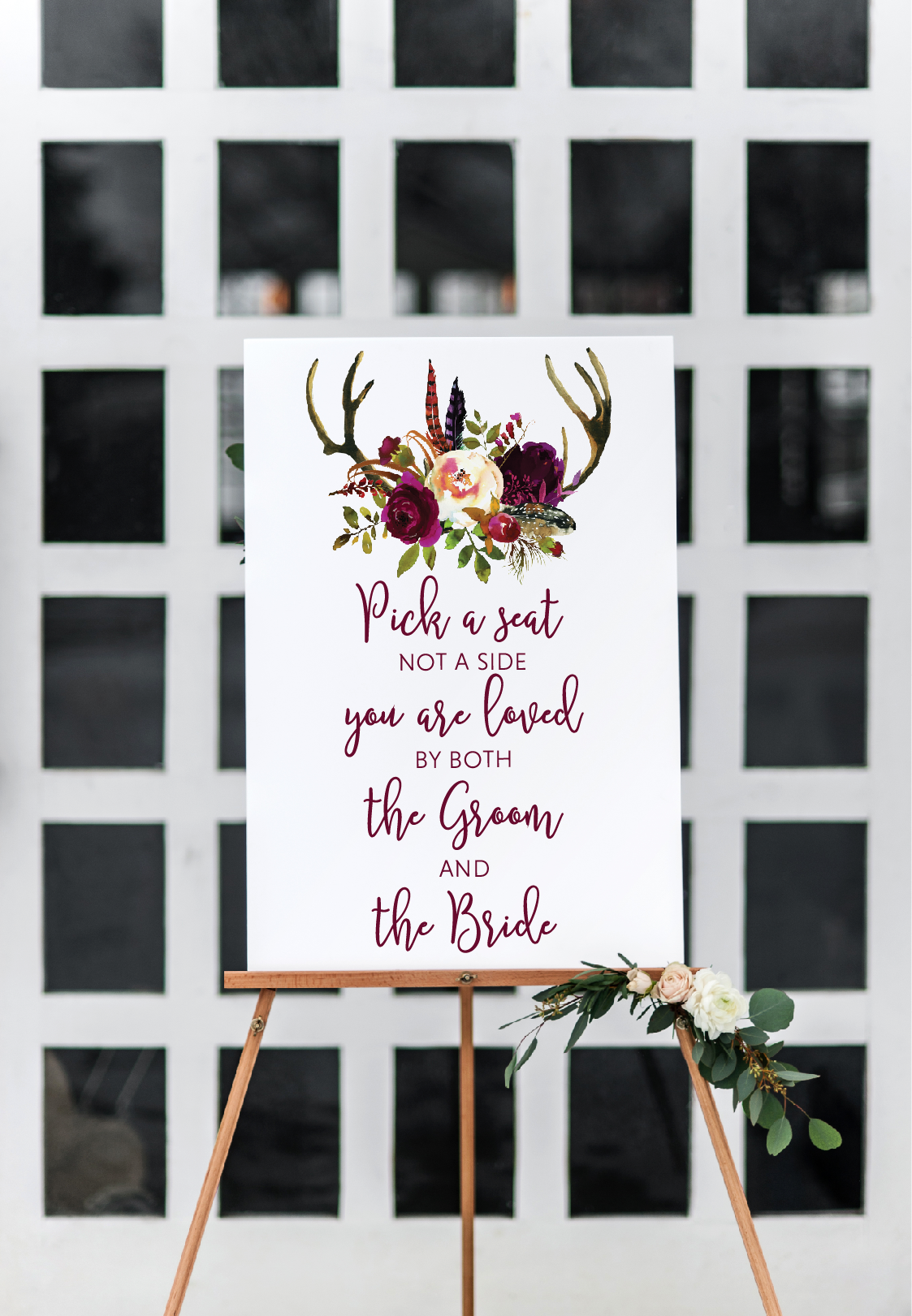 Deer antlers rustic wedding sign