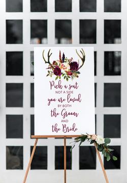 Deer antlers rustic wedding sign