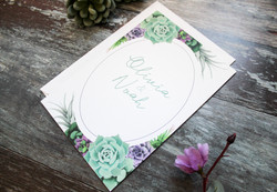 Green and purple succulent wedding