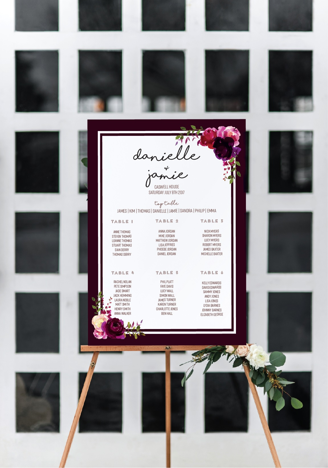 rustic floral table plan