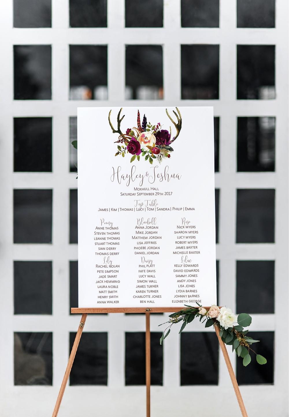 rustic burgundy floral wedding table plan boho