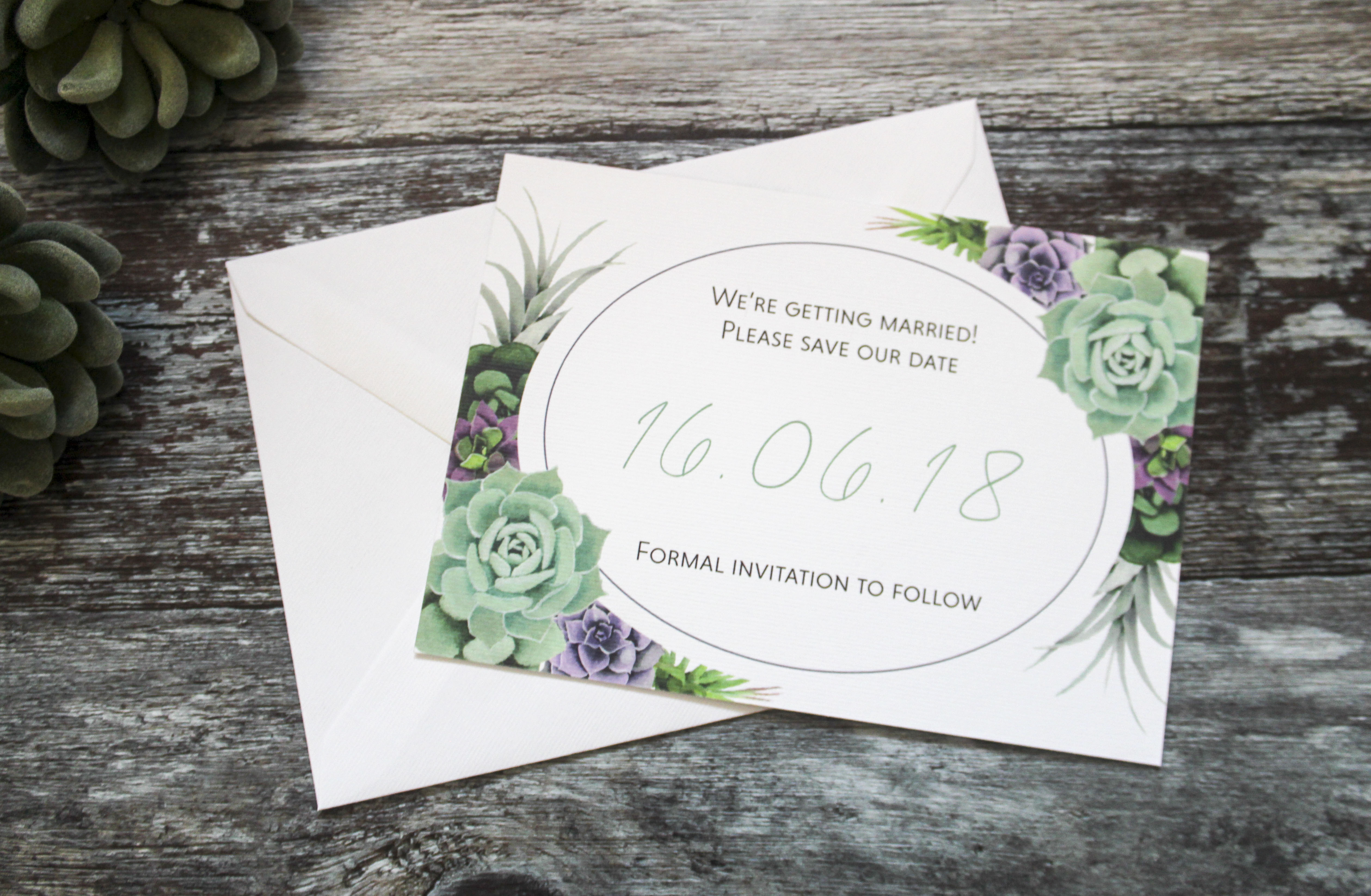 Succulent wedding save the dates