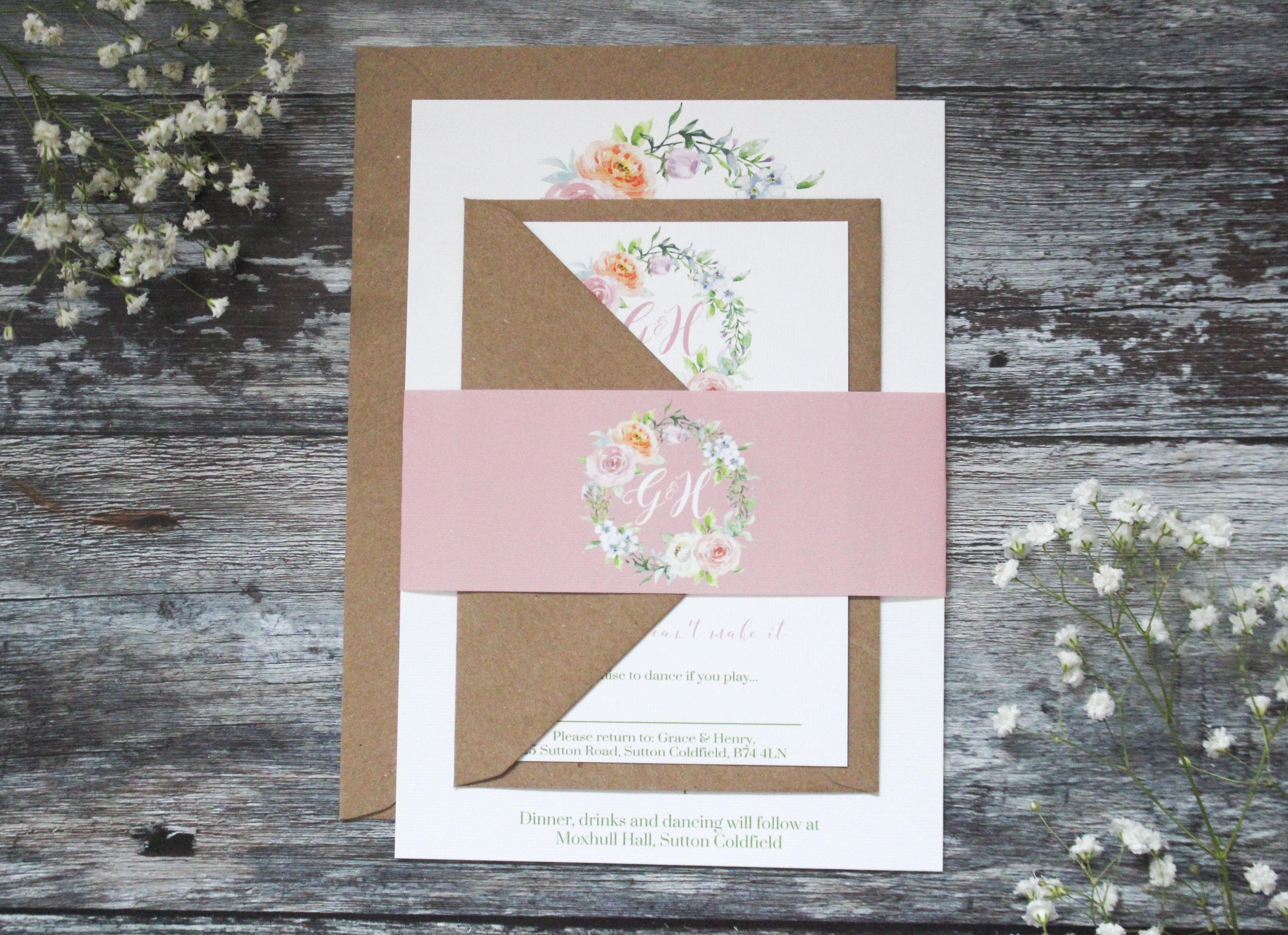 pastel floral wedding invitation set