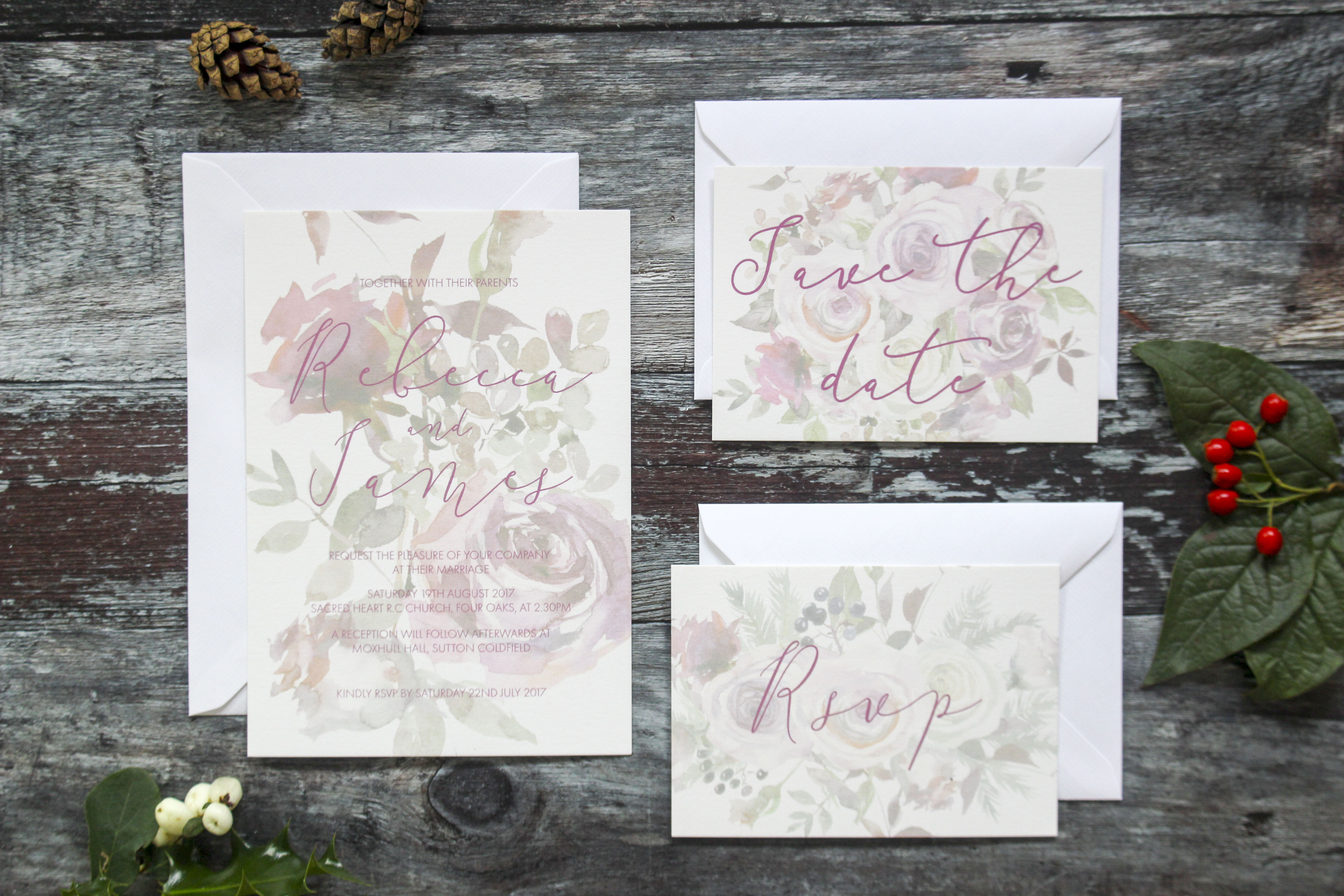 rustic floral winter berry invites