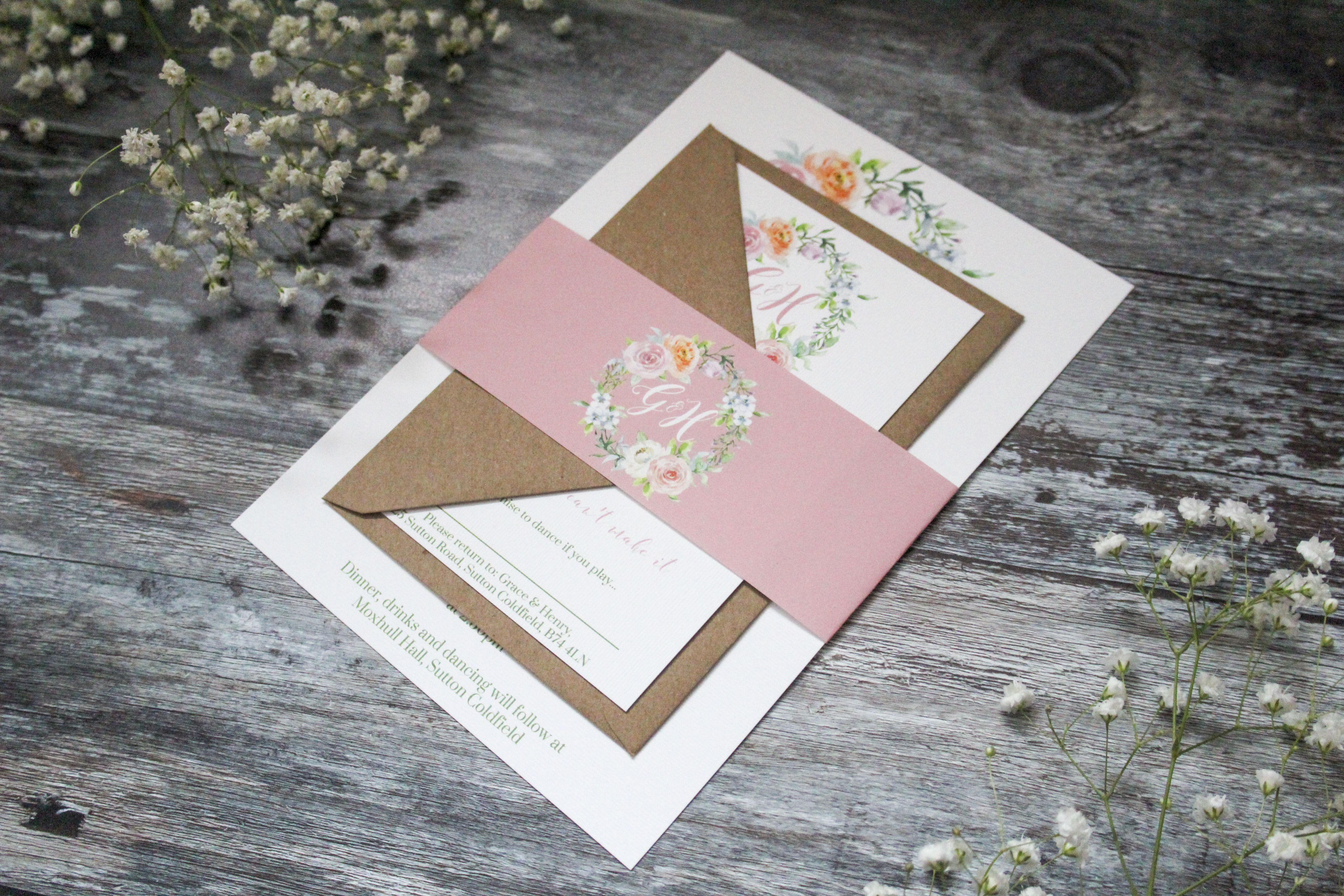 blush pink floral wedding stationery