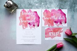 pink watercolour wedding stationery