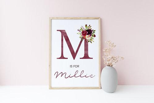 Burgundy floral print