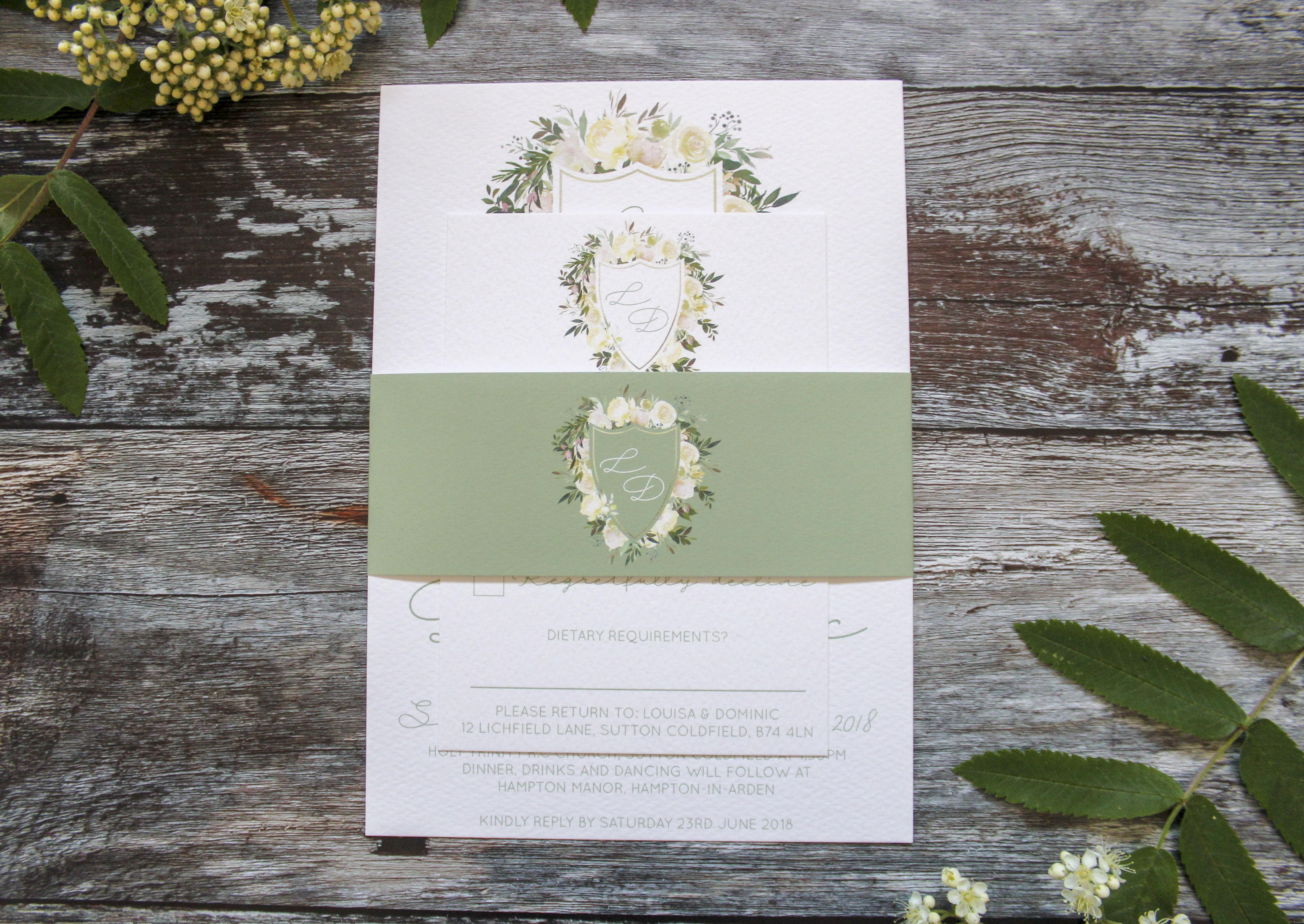 botanical wedding stationery set