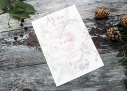 Winter wedding berry menu