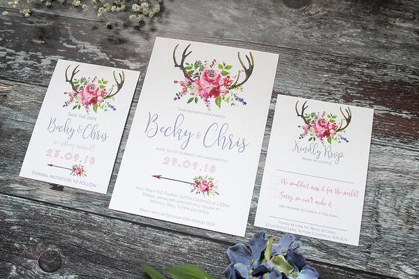 boho deer antler wedding stationery