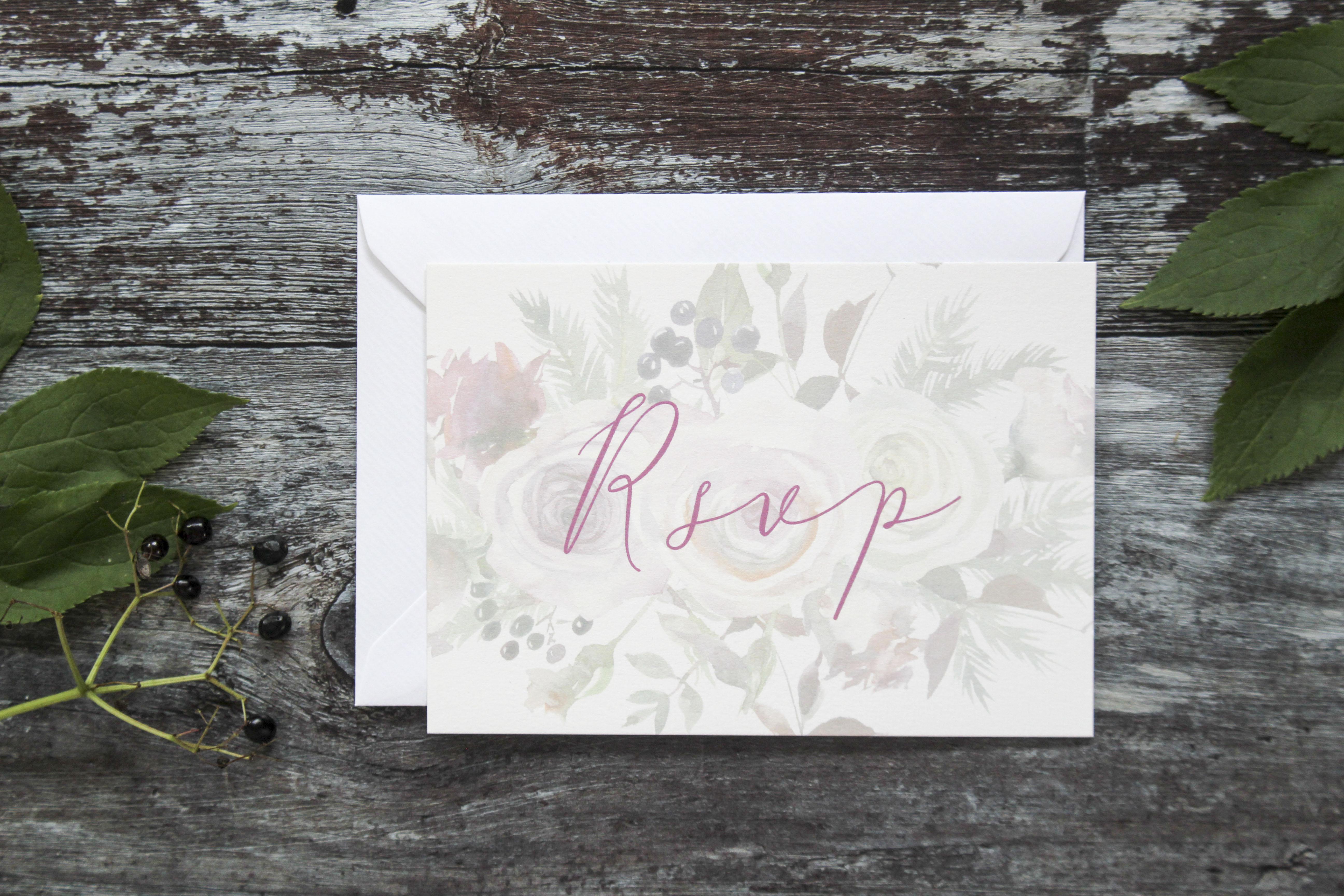 rustic floral rsvp card