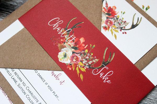 rustic antler wedding invitations