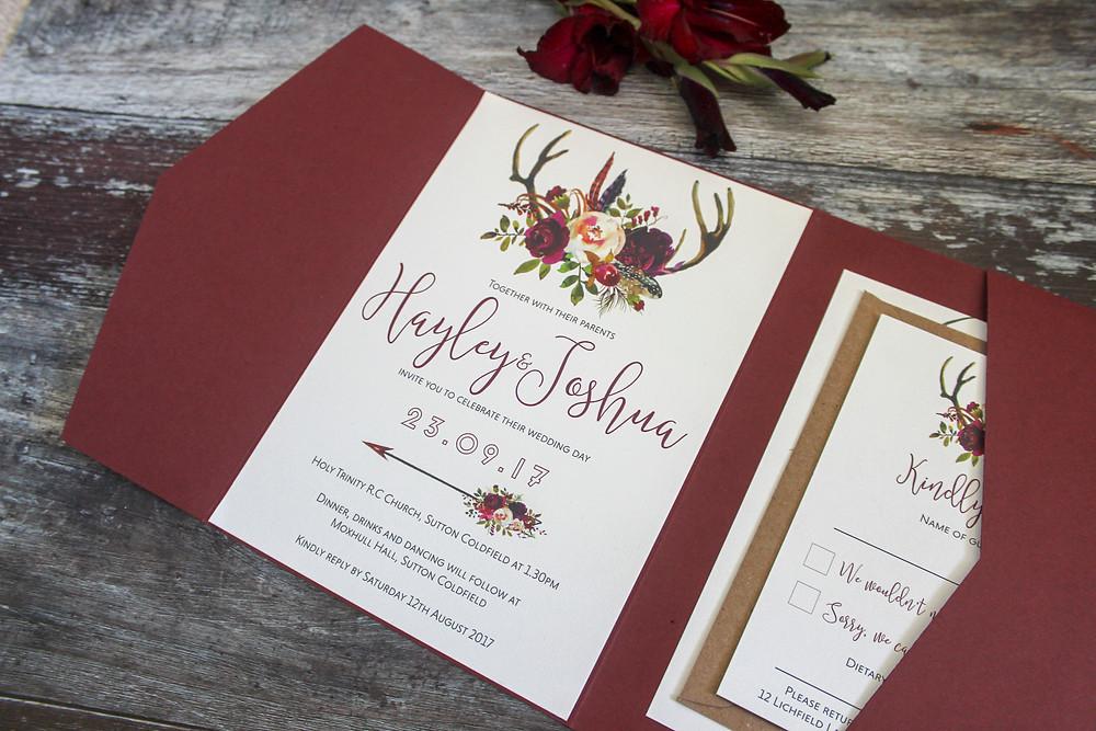 antler wedding pocketfold wedding invitation