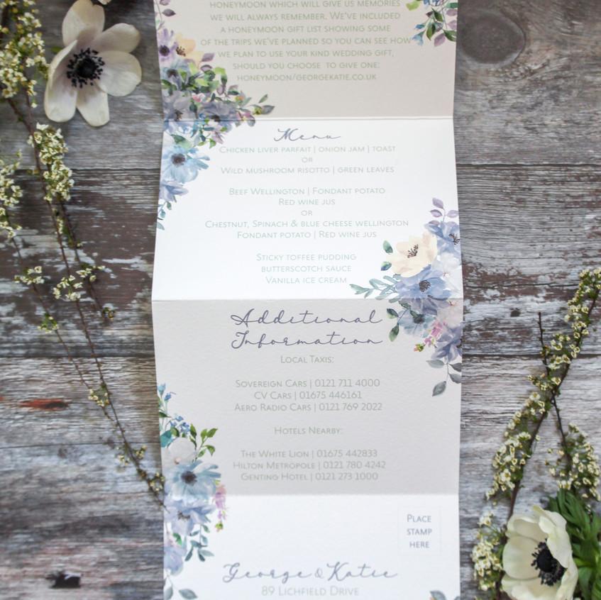 folded concertina wedding invitation