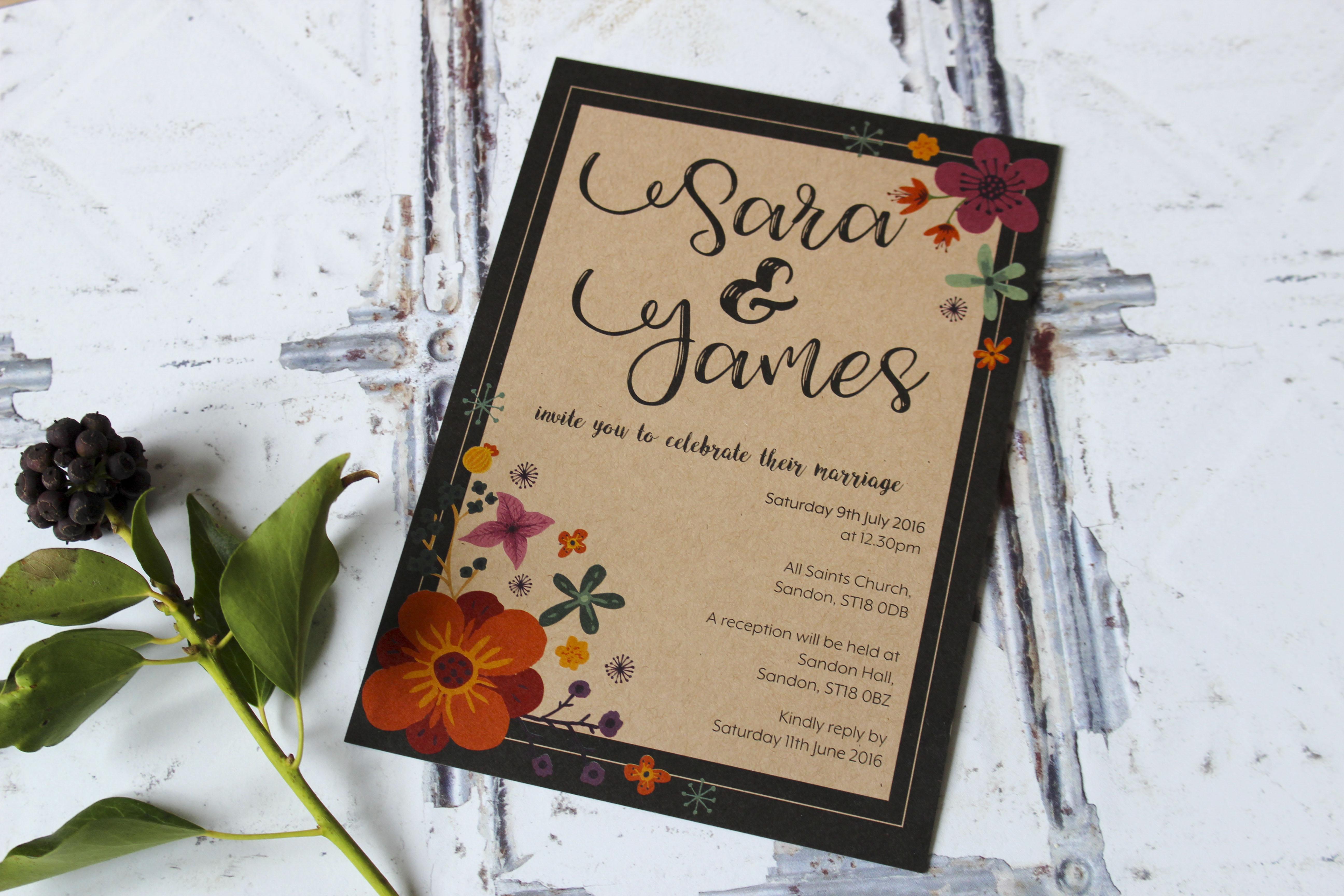 floral kraft wedding invitations