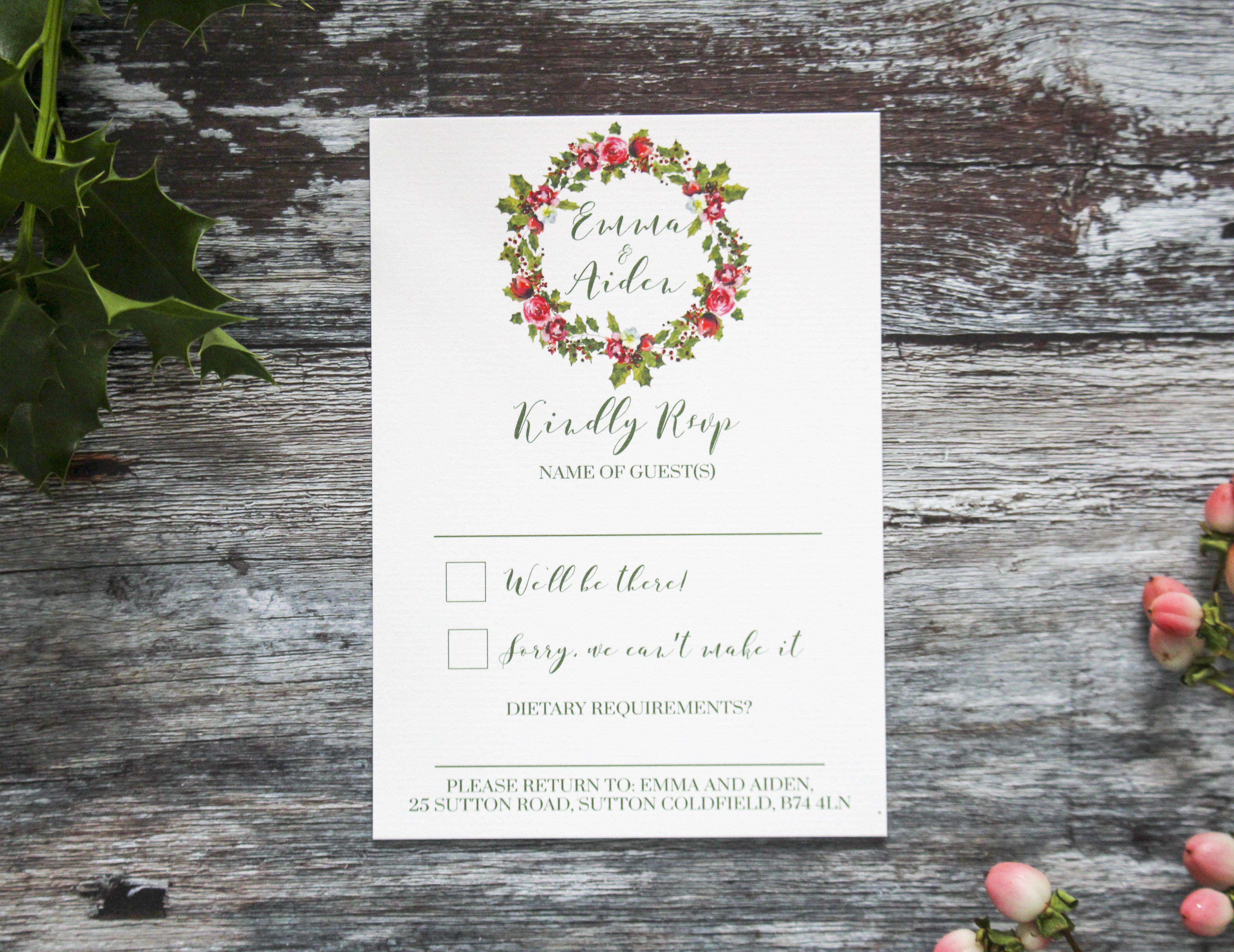 rustic wreath wedding rsvp card