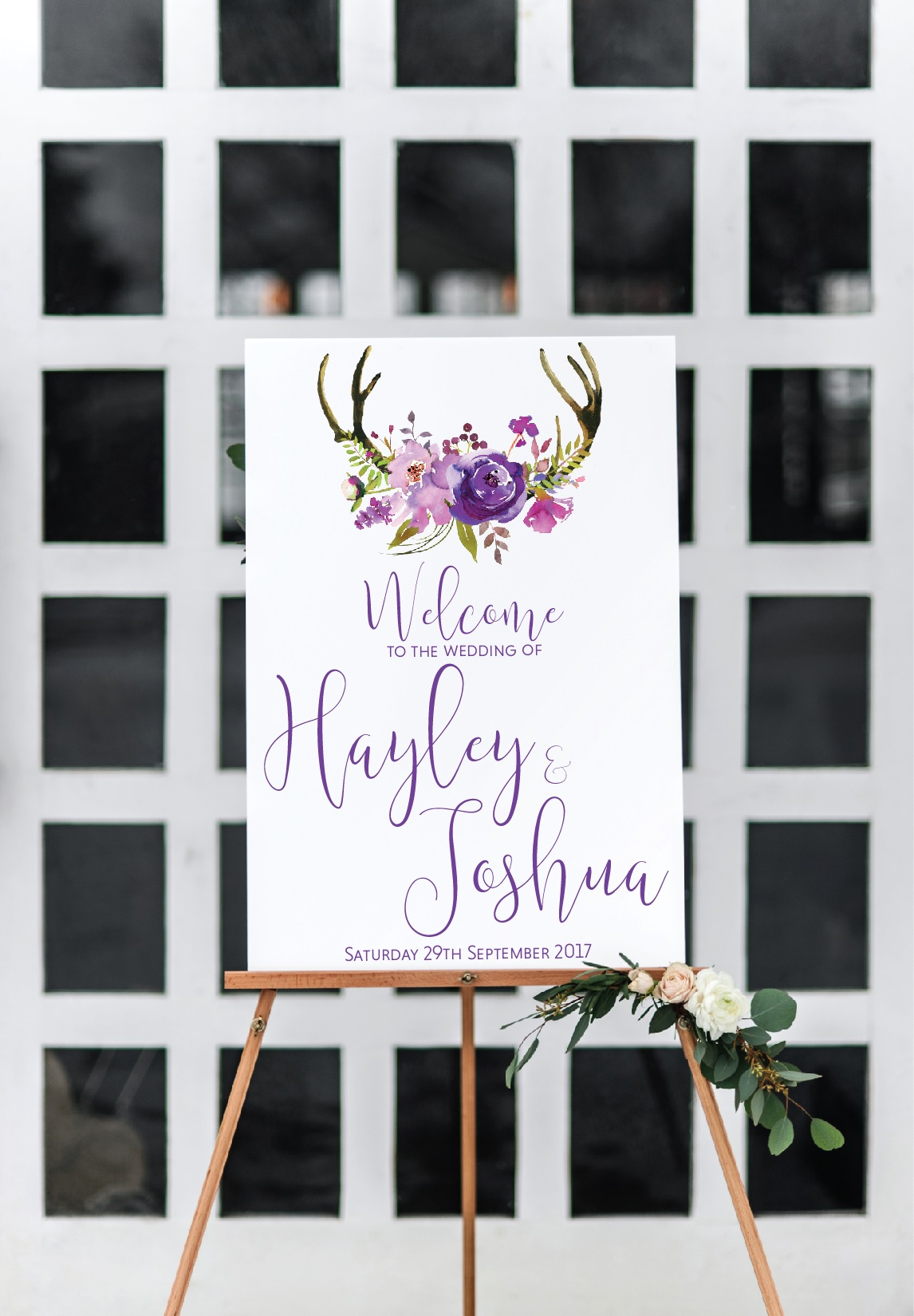 stag antlers wedding welcome sign
