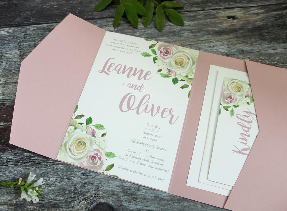 blush pink pocketfold invitation set
