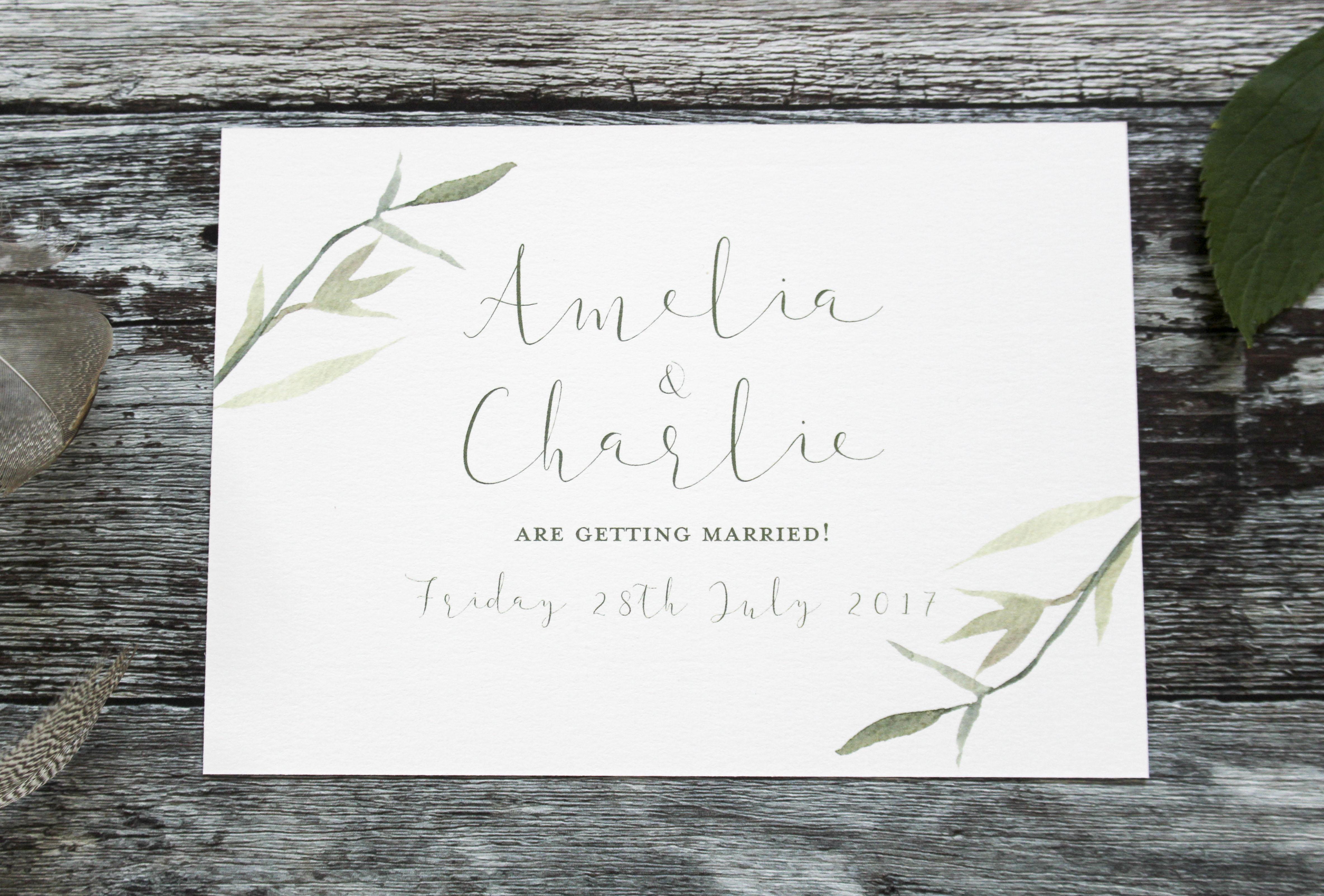 green leaf wedding save the dates