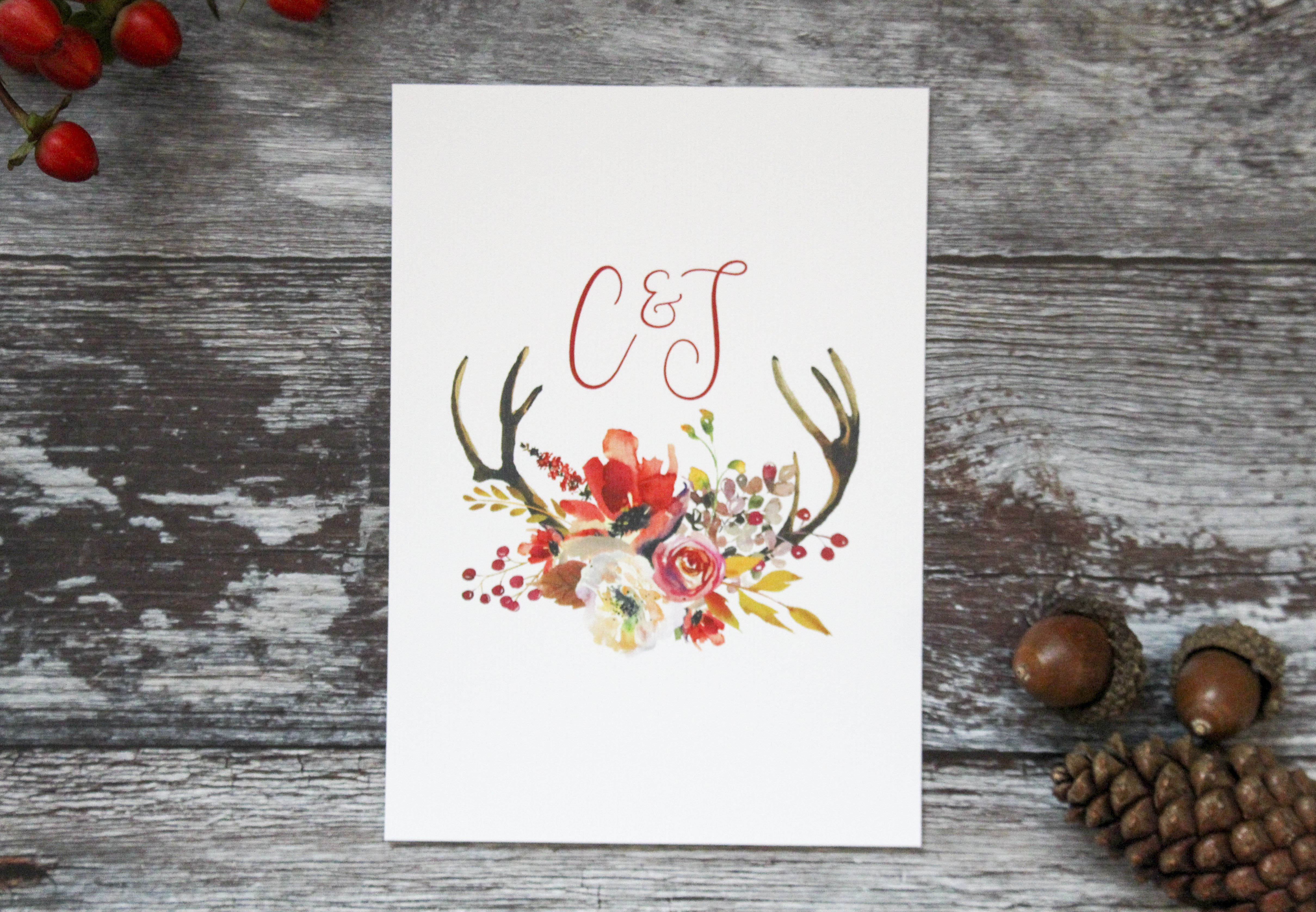 autumn wedding save the date cards