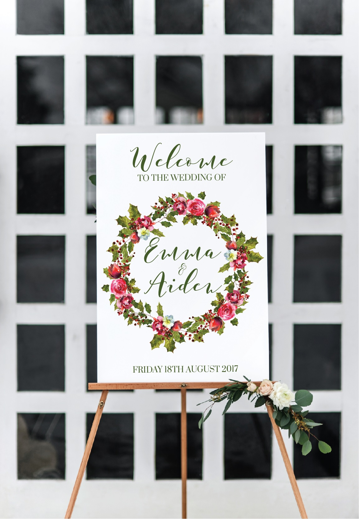 winter wedding welcome sign