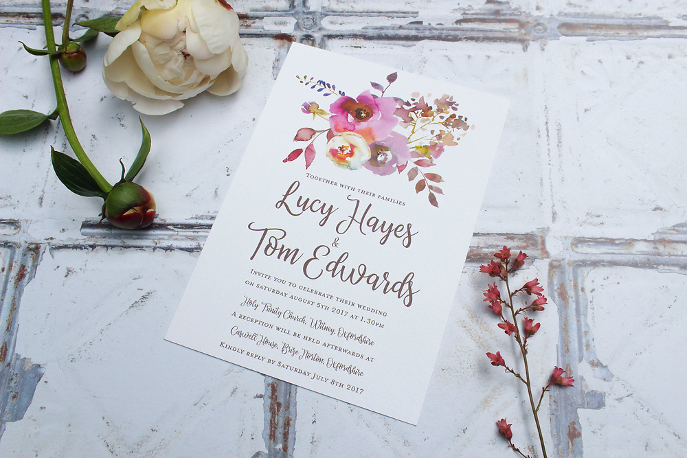 boho floral wedding invitations