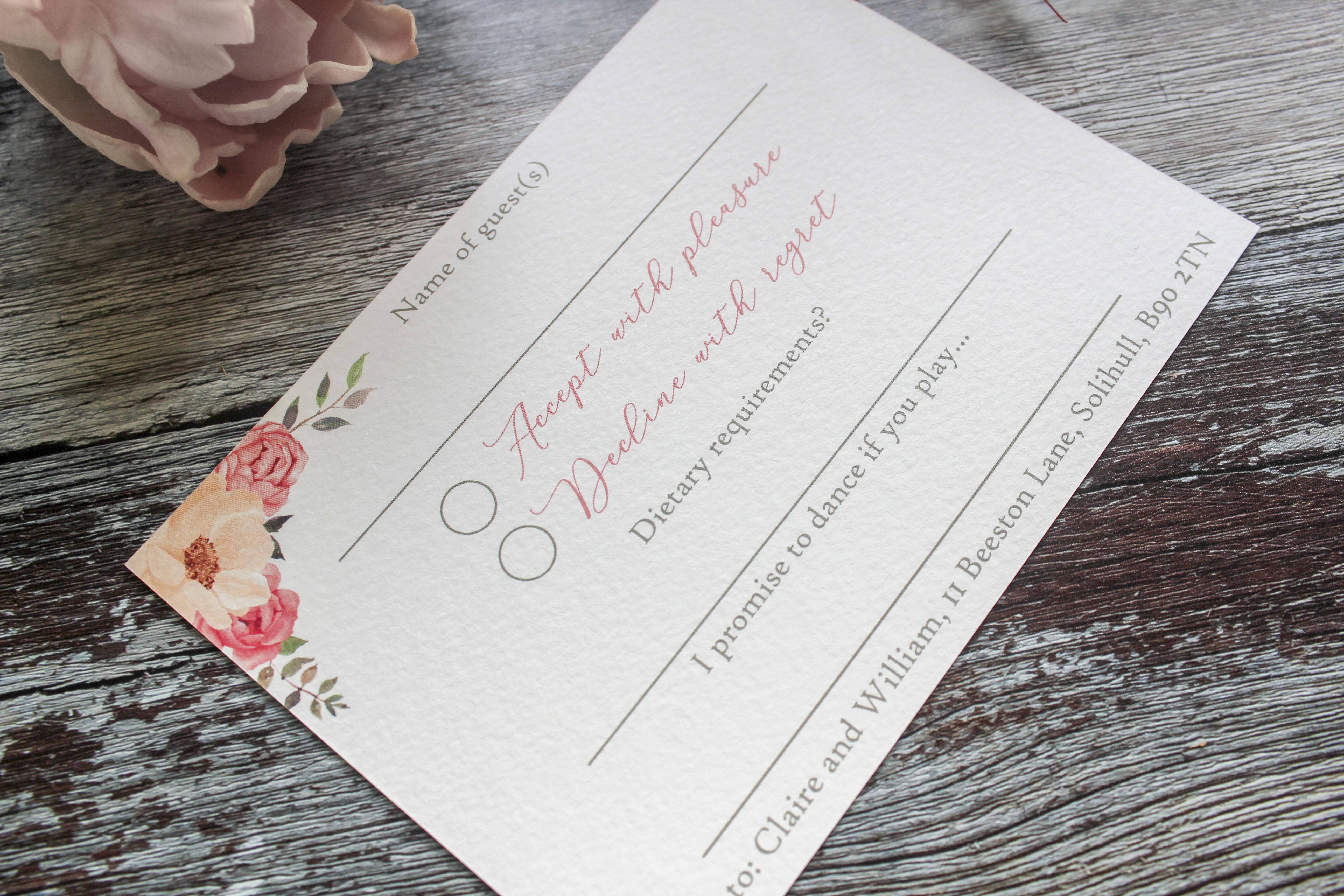 floral wedding rsvp card