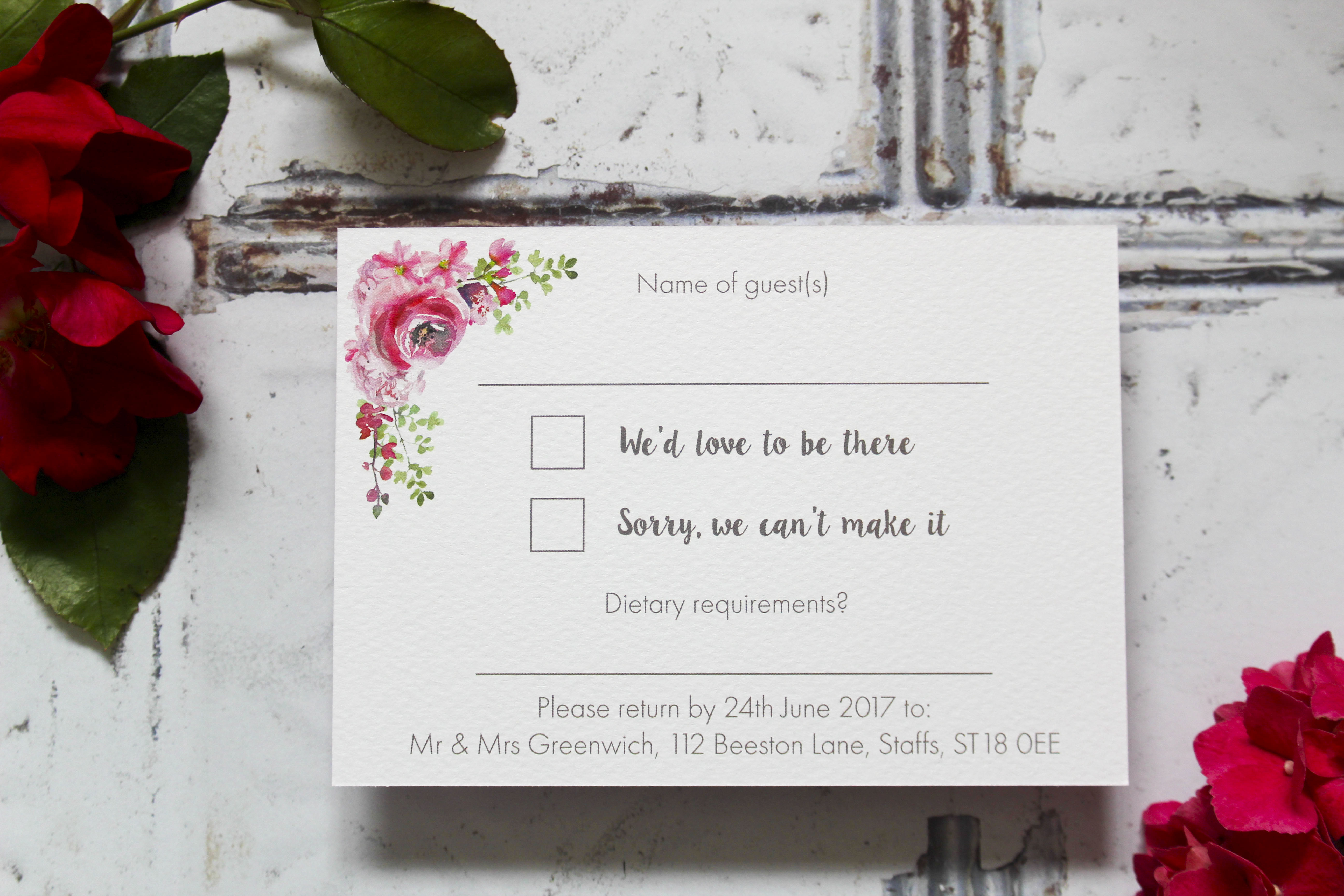 Floral wedding rsvp cards