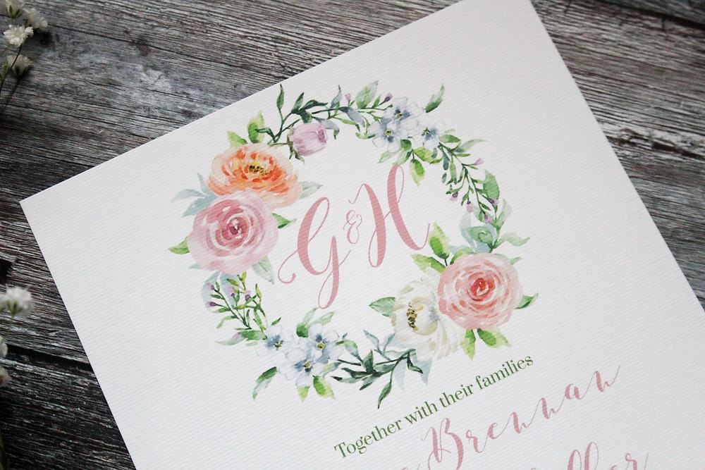 pretty floral wreath wedding invitations