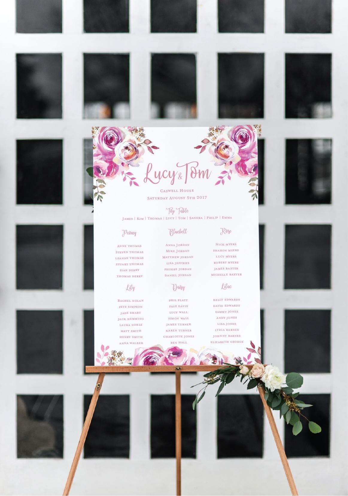 Pink floral wedding table plan