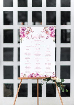 Pink floral wedding table plan
