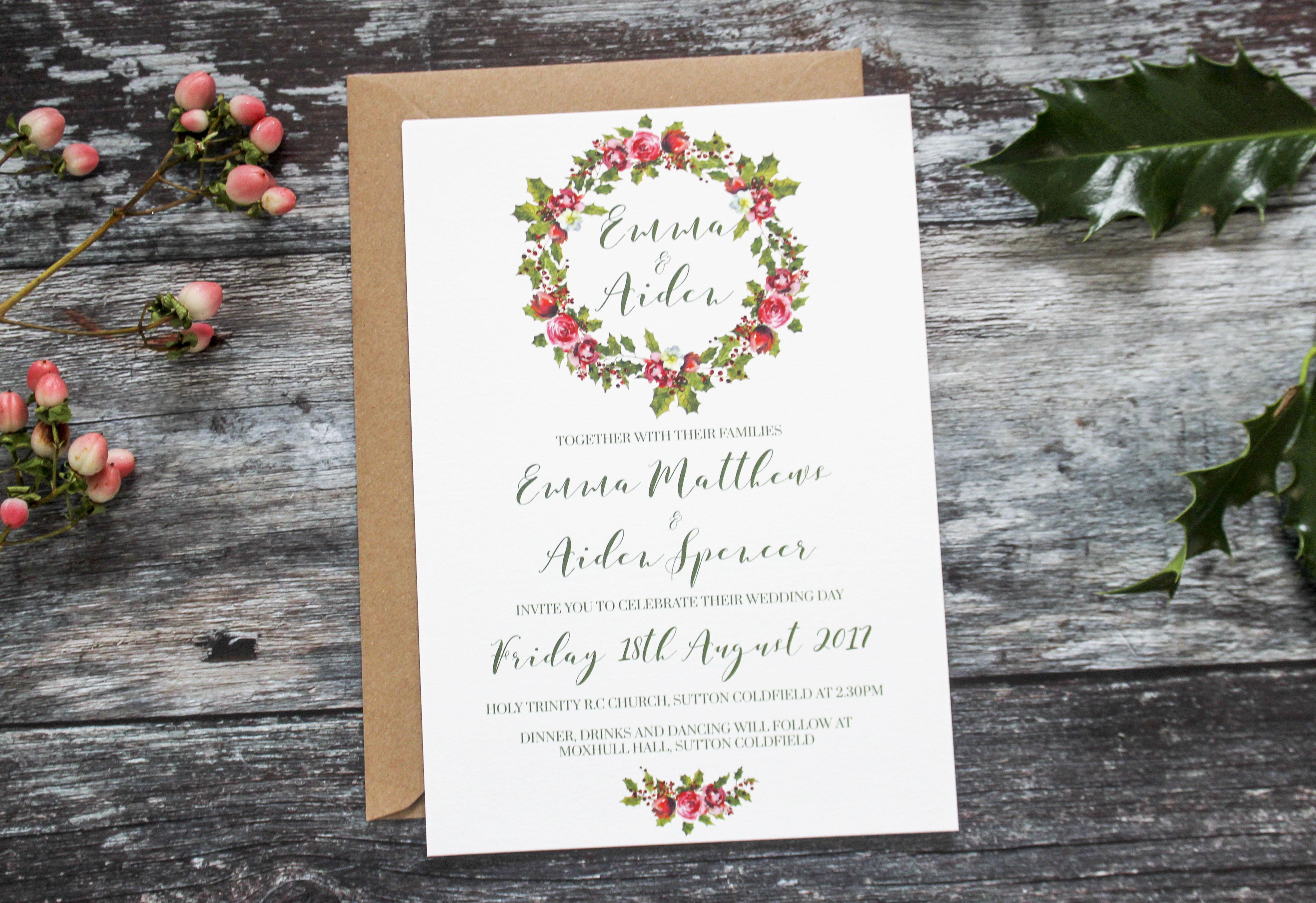 winter wreath invitation