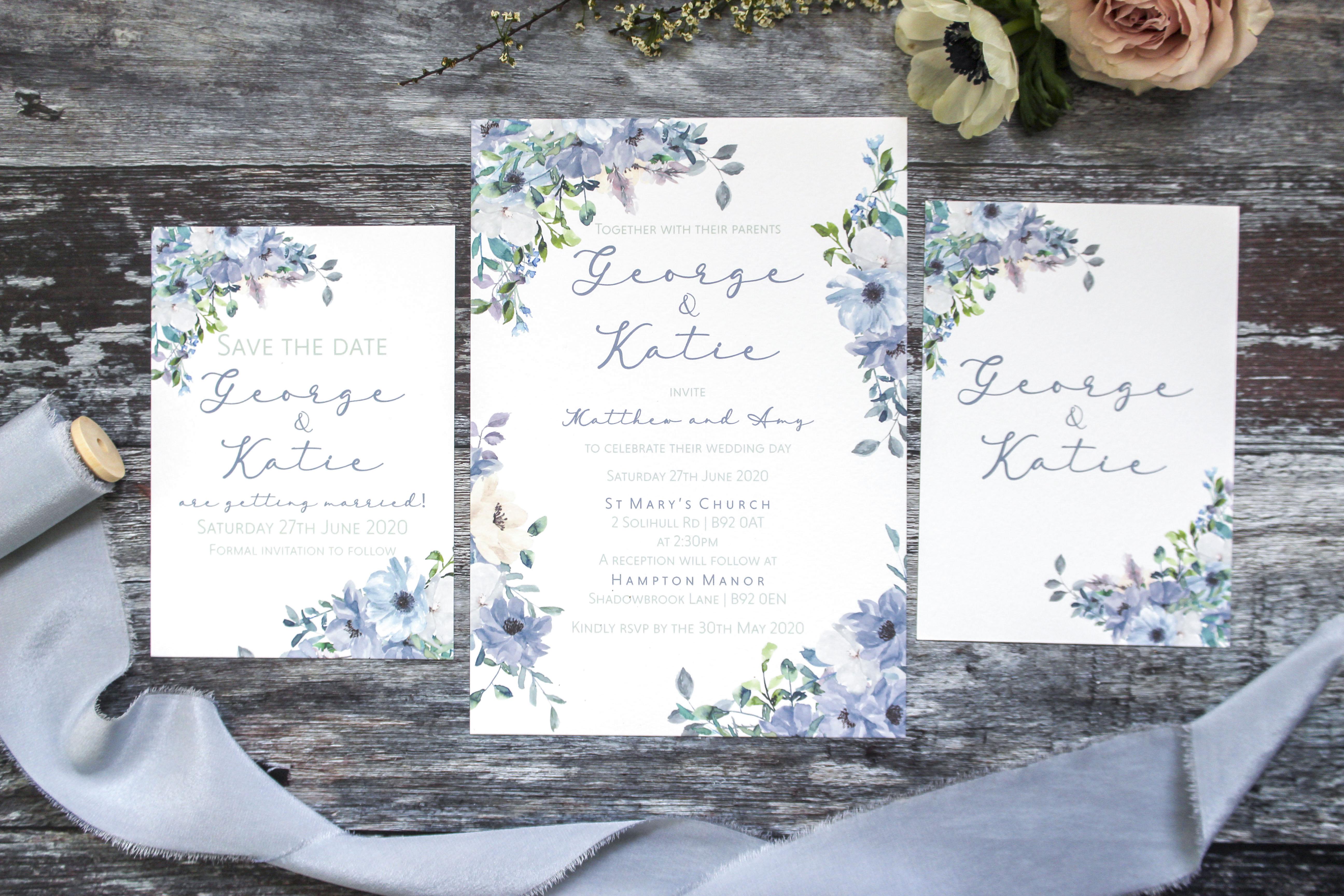 dusky blue wedding stationery suite