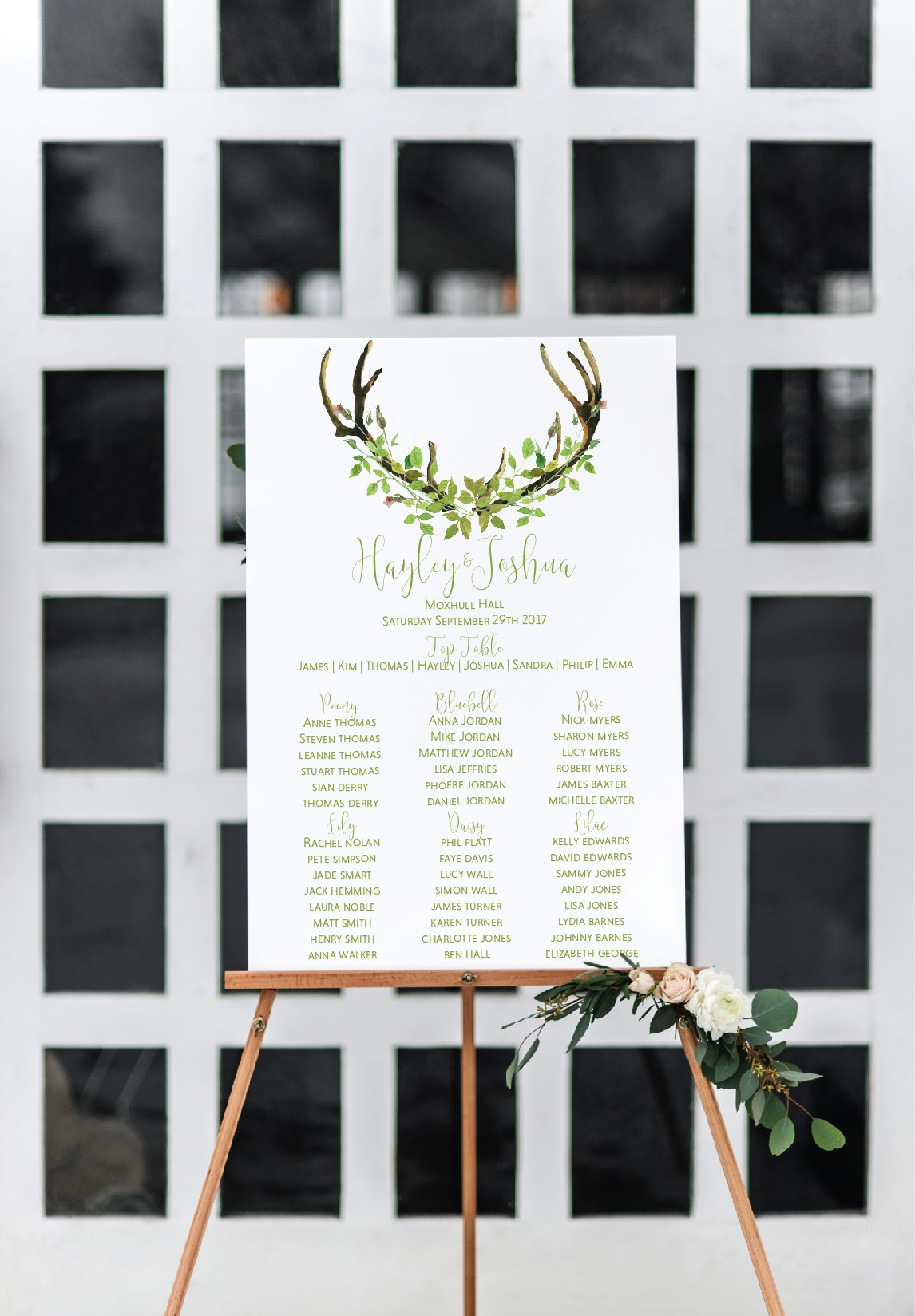 Boho leaf table plan