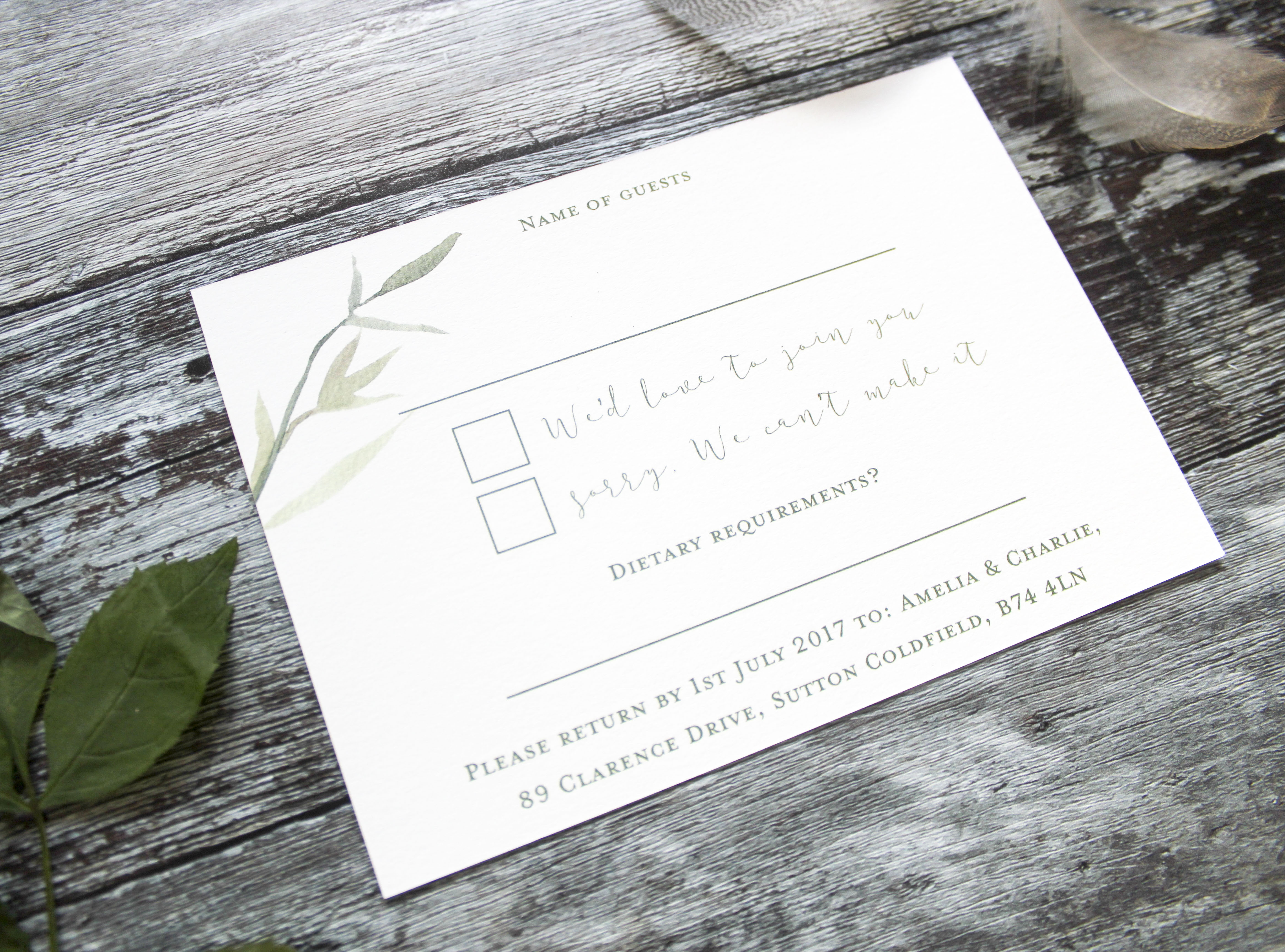 rustic rsvp cards wedding
