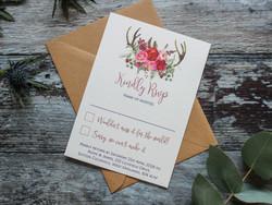 rustic deer wedding rsvp