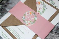 blush pink wedding invitation