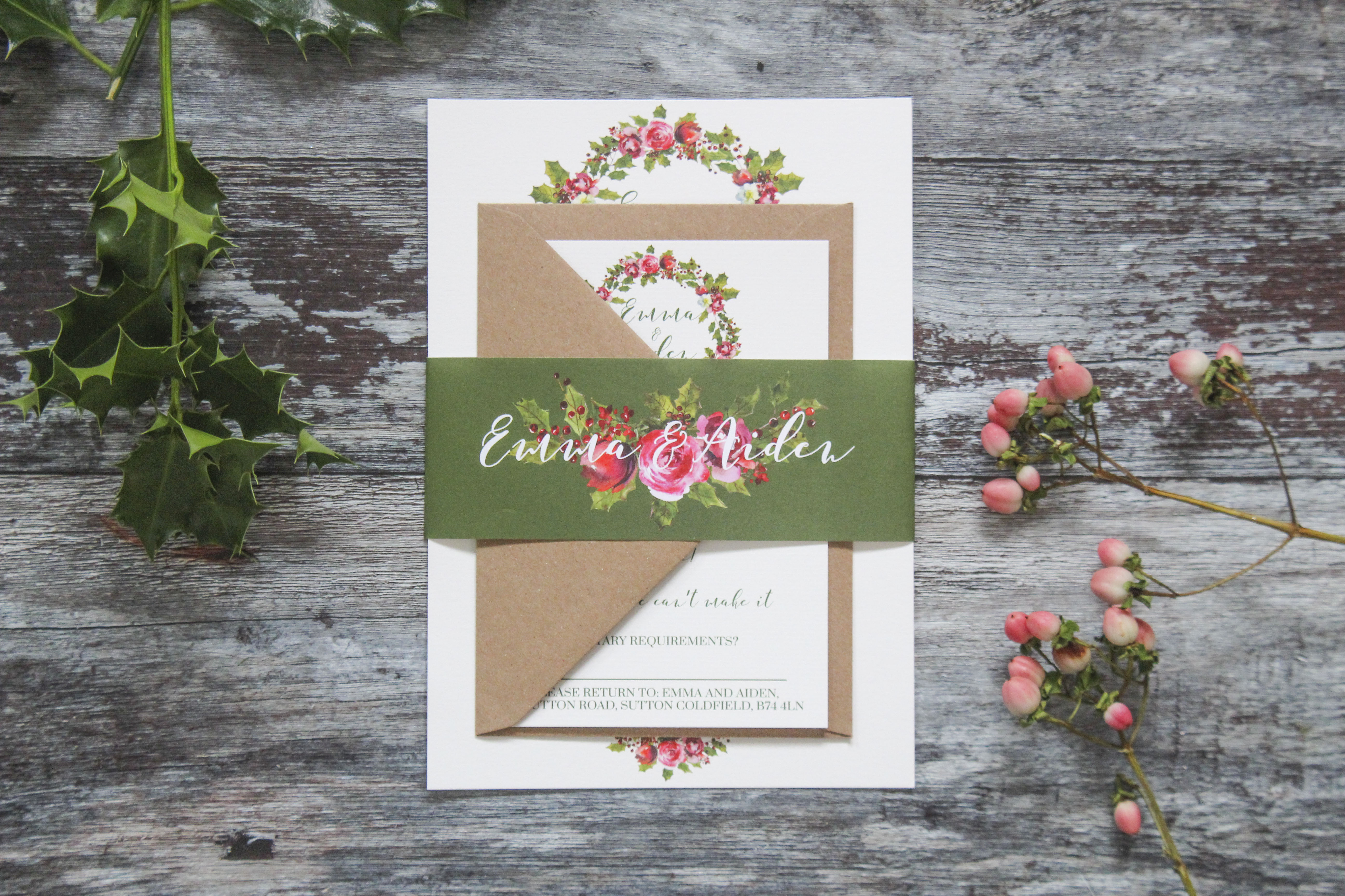 winter wedding stationery set