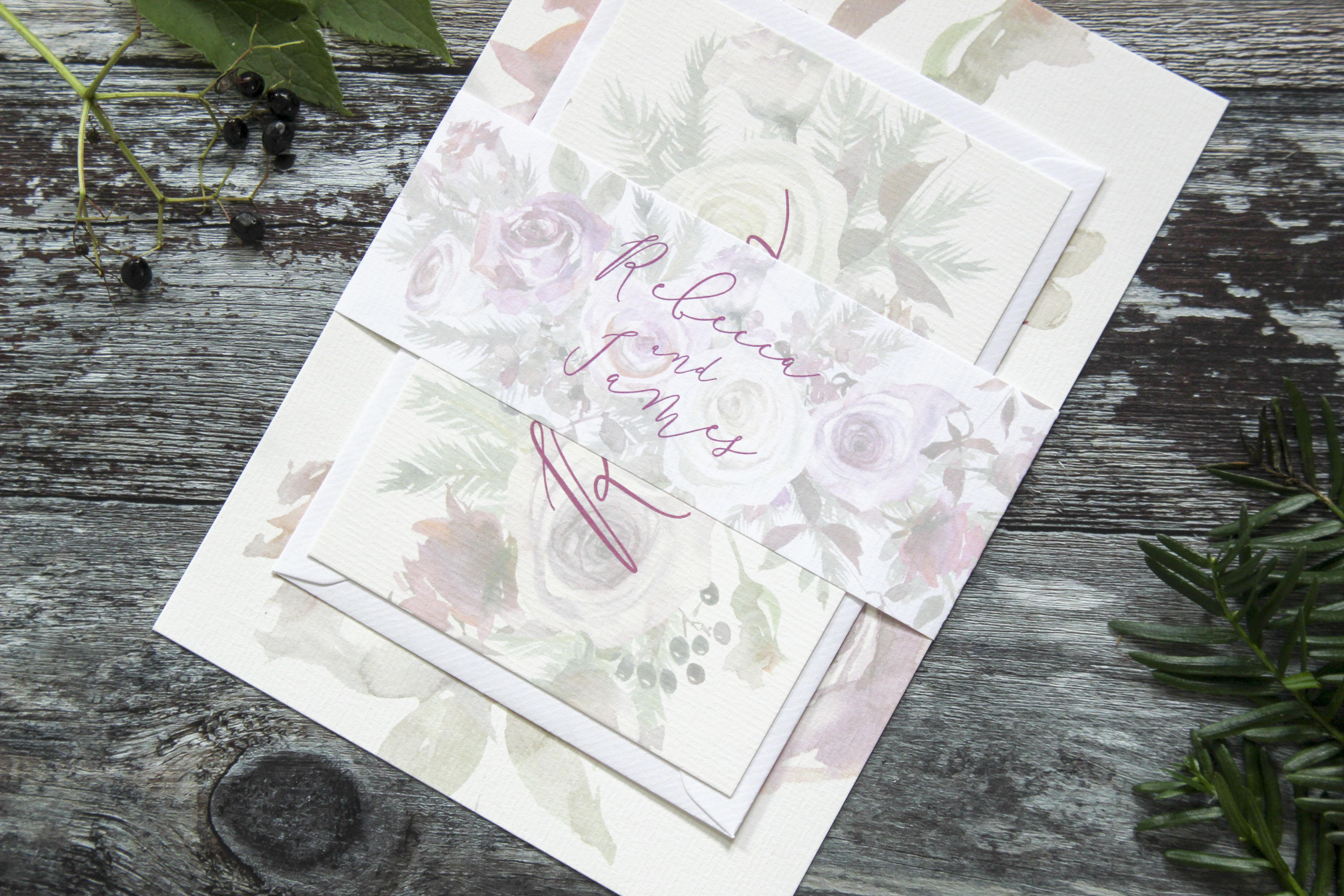 Winter wedding invitation suite